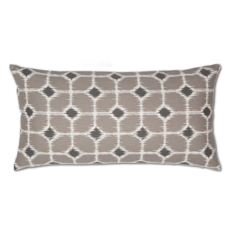 The Gray and White Ikat Diamonds Throw Pillow