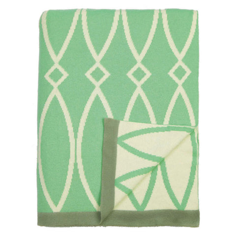The Green Geometric Reversible Patterned Throw