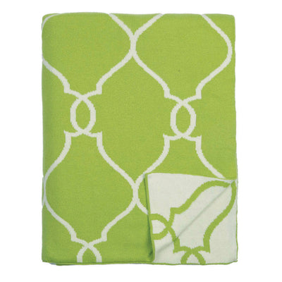 Green Lattice Reversible Patterned Throw