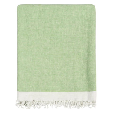 The Green Solid Linen Throw