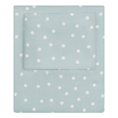 Bedroom inspiration and bedding decor | The Porcelain Green Polka Dots Sheet Set | Crane and Canopy