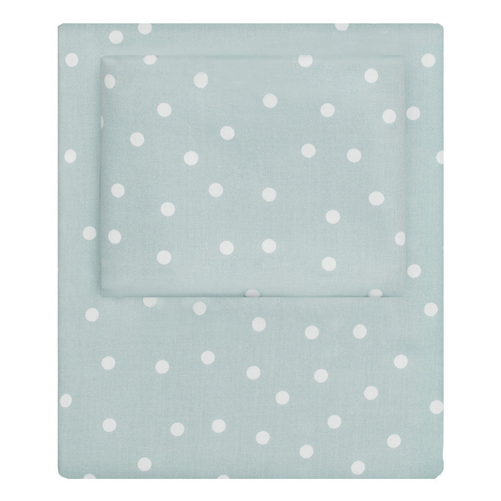 Bedroom inspiration and bedding decor | Porcelain Green Polka Dots Sheet Set  (Fitted, Flat, & Pillow Cases)s | Crane and Canopy