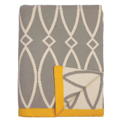 Grey Geometric Reversible Patterned Throw