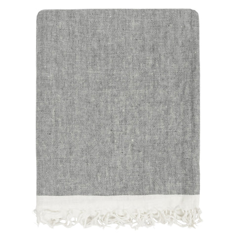 The Grey Solid Linen Throw