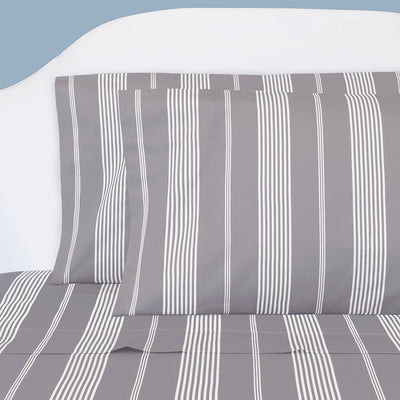 Grey Striped Seaport Sheet Set 2 (Fitted & Pillow Cases)
