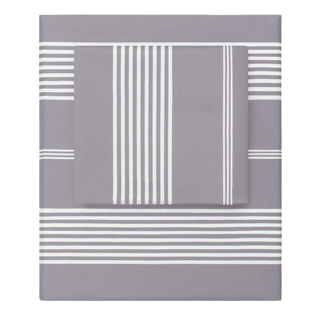 Bedroom inspiration and bedding decor | The Grey Striped Seaport Sheet Sets | Crane and Canopy