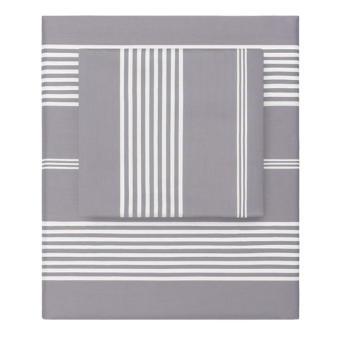 Grey Striped Seaport Sheet Set 1 (Fitted, Flat, & Pillow Cases)