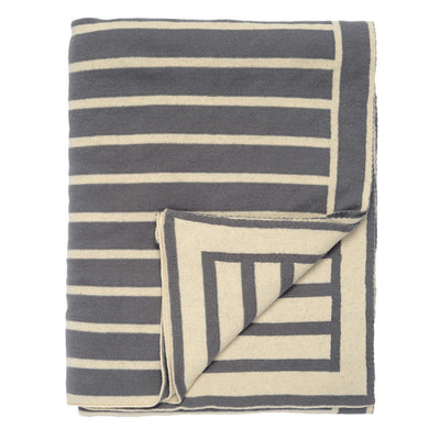 Charcoal Grey Beach Stripes Reversible Patterned Throw