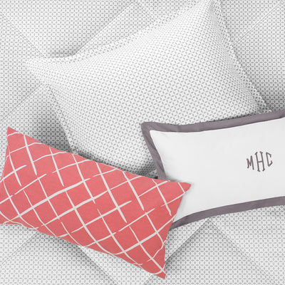 Bedroom inspiration and bedding decor | Coral Diamonds Throw Pillow Duvet Cover | Crane and Canopy