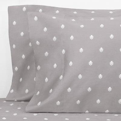 Grey Flora Pillow Case