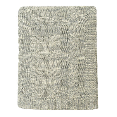 Grey Chunky Braid Cotton Throw