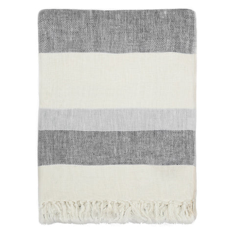 The Grey Multi Stripe Linen Throw