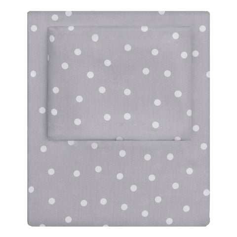 Grey Polka Dots Sheet Set 1 (Fitted, Flat, & Pillow Cases)