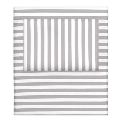 Grey Striped Sheet Set  (Fitted, Flat, & Pillow Cases)