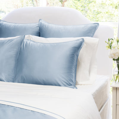 French Blue Hayes Euro Sham (white piping)