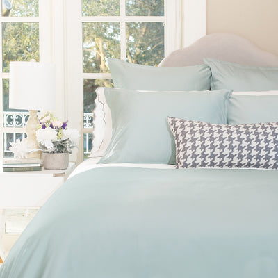 Bedroom inspiration and bedding decor | The Hayes Nova Porcelain Green Duvet Cover | Crane and Canopy