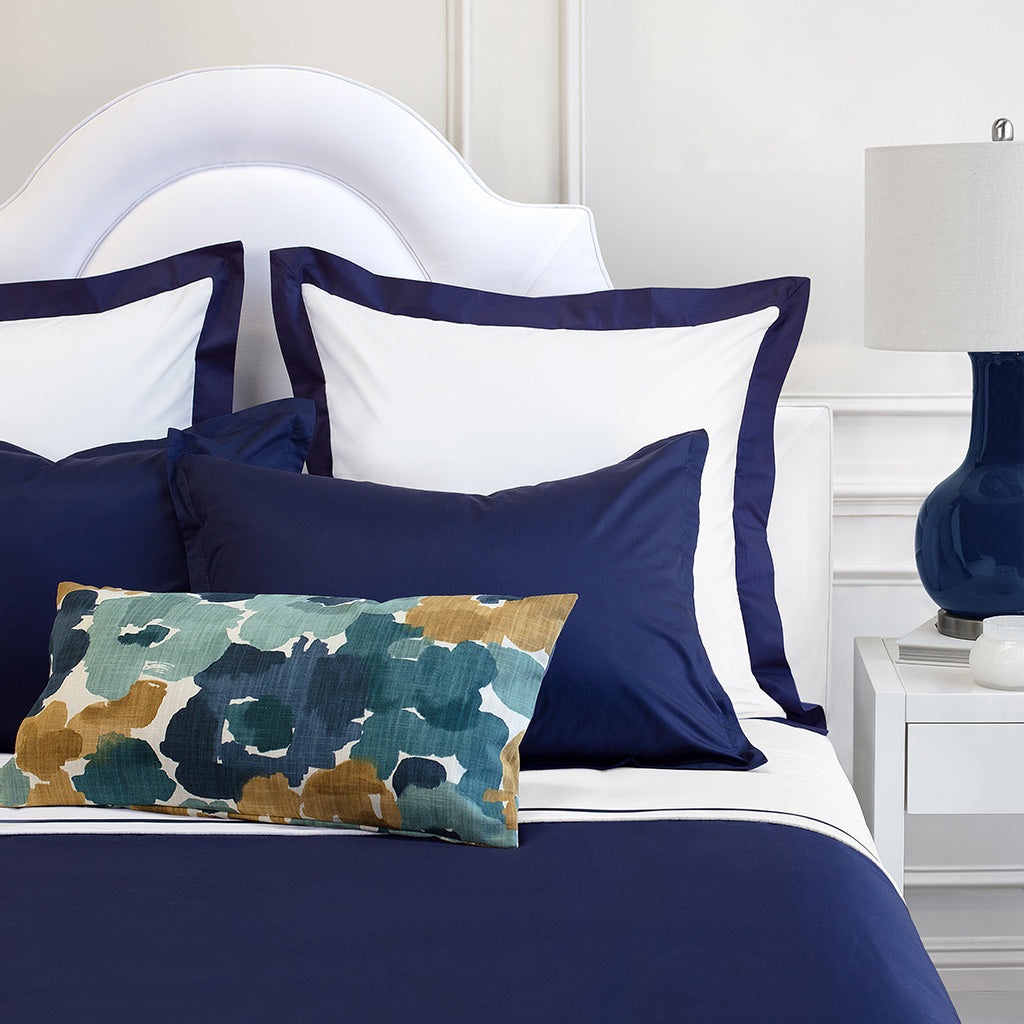 Bedroom inspiration and bedding decor | The Hayes Nova Navy Blue Duvet Cover | Crane and Canopy