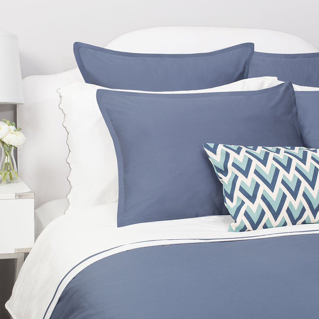 Bedroom inspiration and bedding decor | Slate Blue Hayes Flange Sham Duvet Cover | Crane and Canopy