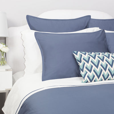 Bedroom inspiration and bedding decor | The Hayes Nova Slate Blue Duvet Cover | Crane and Canopy