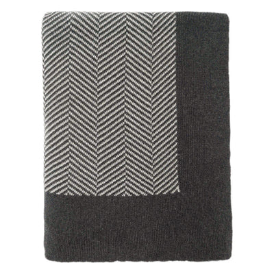Dark Grey Herringbone Bordered Throw