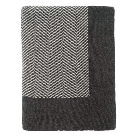 The Dark Grey Herringbone Bordered Throw