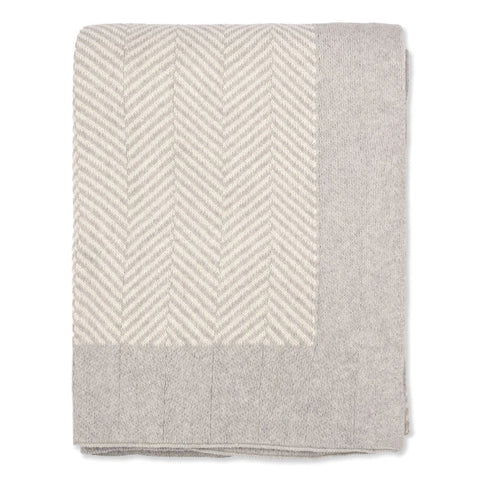 The Light Grey Herringbone Bordered Throw