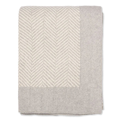 Light Grey Herringbone Bordered Throw