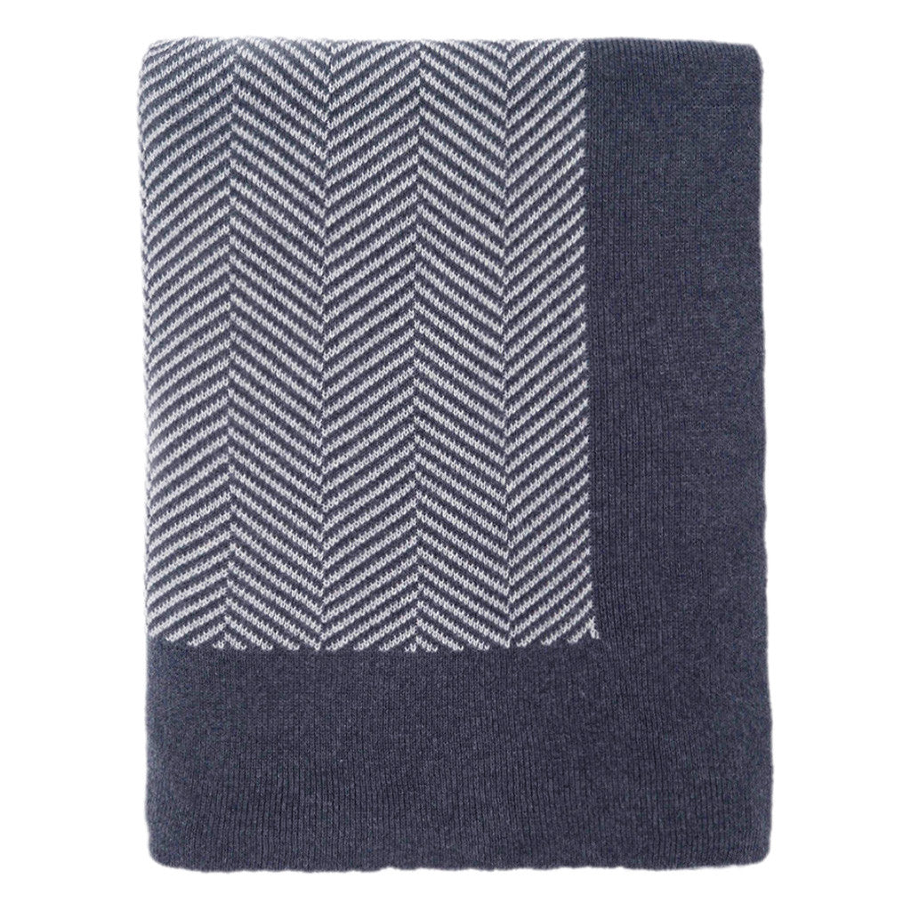 Bedroom inspiration and bedding decor | Dark Blue Border Herringbone Throw Duvet Cover | Crane and Canopy