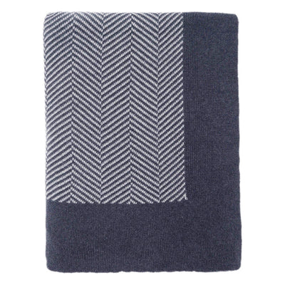 Dark Blue Border Herringbone Throw