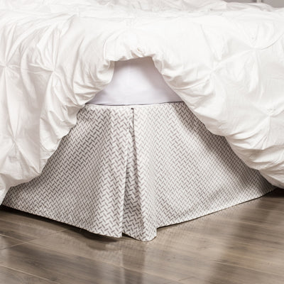 Grey Herringbone Bed Skirt