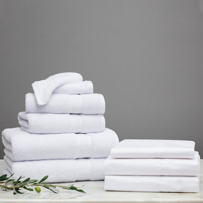 Guest Room Essentials Bundle (1 queen fitted sheet + 1 queen flat sheet + 2 pillowcases & 2 Wash + 2 Hand + 2 Bath Towels)
