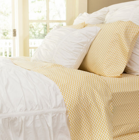 Bedroom inspiration and bedding decor | The Yellow Herringbone Sheet Set | Crane and Canopy