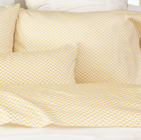 Bedroom inspiration and bedding decor | The Yellow Herringbone Sheet Sets | Crane and Canopy