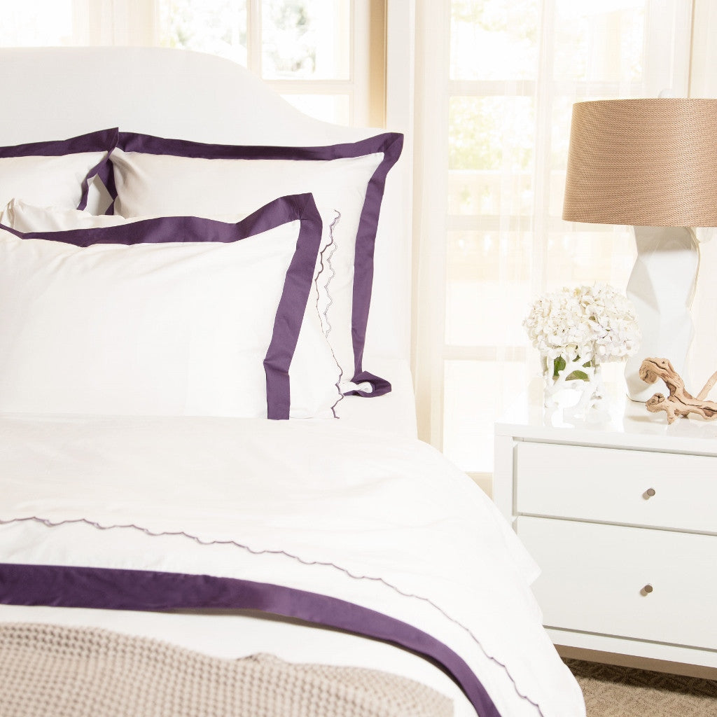 Bedroom inspiration and bedding decor | The Linden Purple Border Duvet Cover | Crane and Canopy
