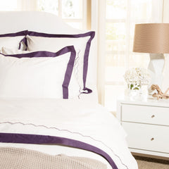 Bedroom inspiration and bedding decor | The Linden Purple Border | Crane and Canopy