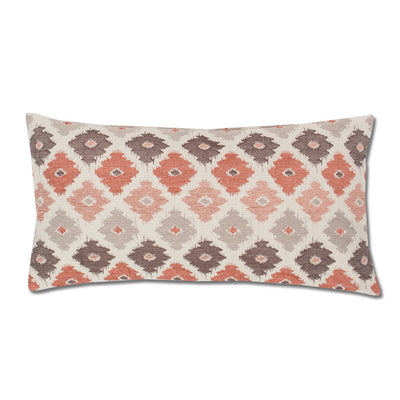 Coral and Brown Flowers Throw Pillow