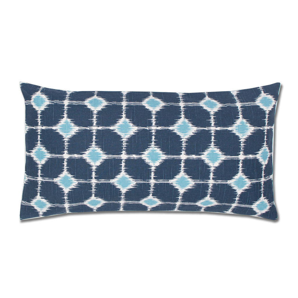 Bedroom inspiration and bedding decor | Blue and White Ikat Diamonds Throw Pillow Duvet Cover | Crane and Canopy