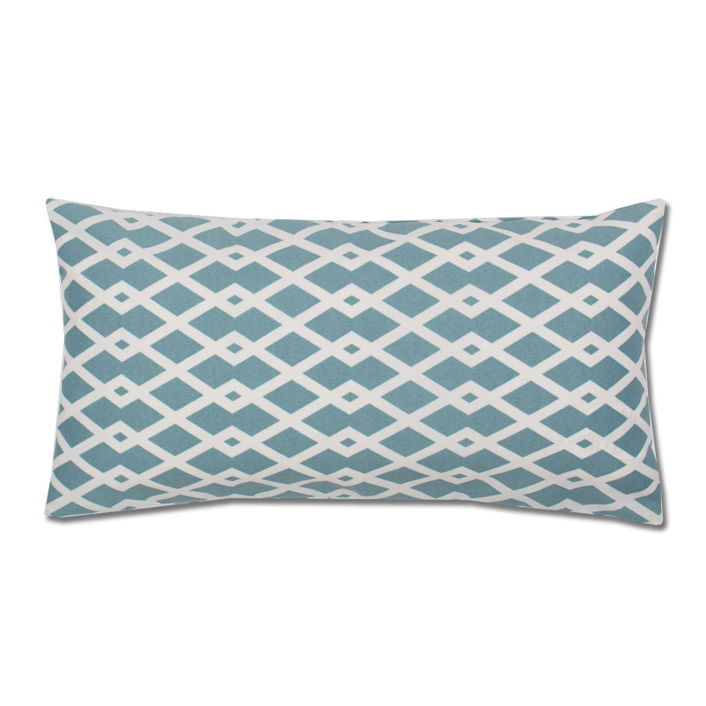 Bedroom inspiration and bedding decor | The Teal and White Geometric Throw Pillows | Crane and Canopy