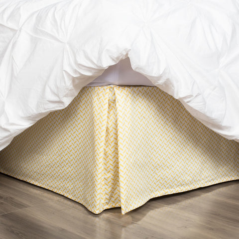 Yellow Herringbone Bed Skirt