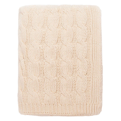 Ivory Large Cable Knit Throw