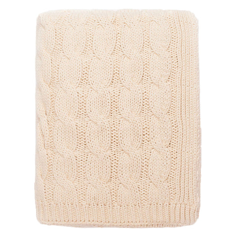 The Ivory Large Cable Knit Throw