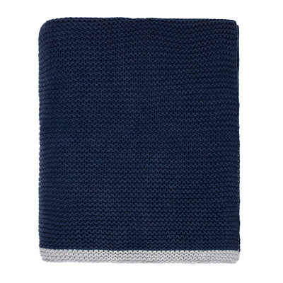 The Navy Knotted Trim Throw Blanket