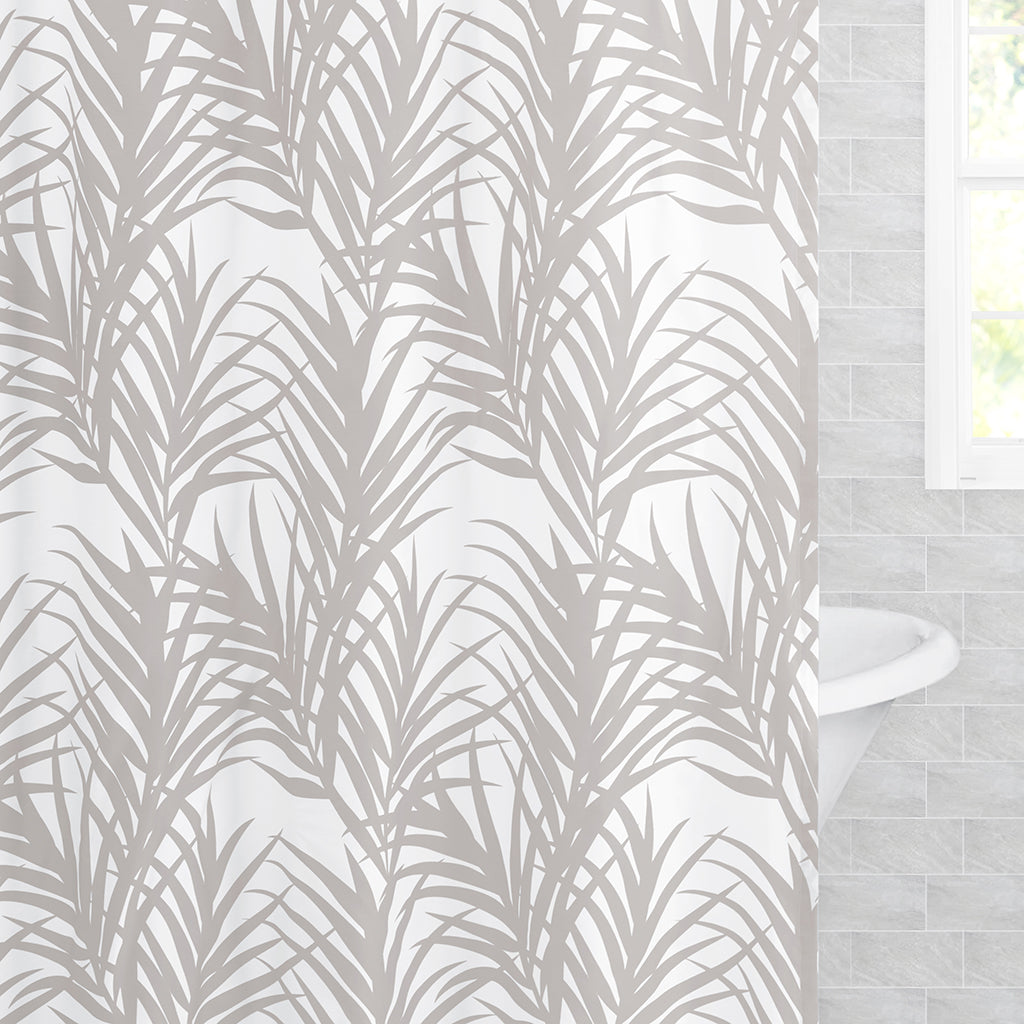 Bedroom inspiration and bedding decor | The Dove Grey Palm Shower Curtain Duvet Cover | Crane and Canopy