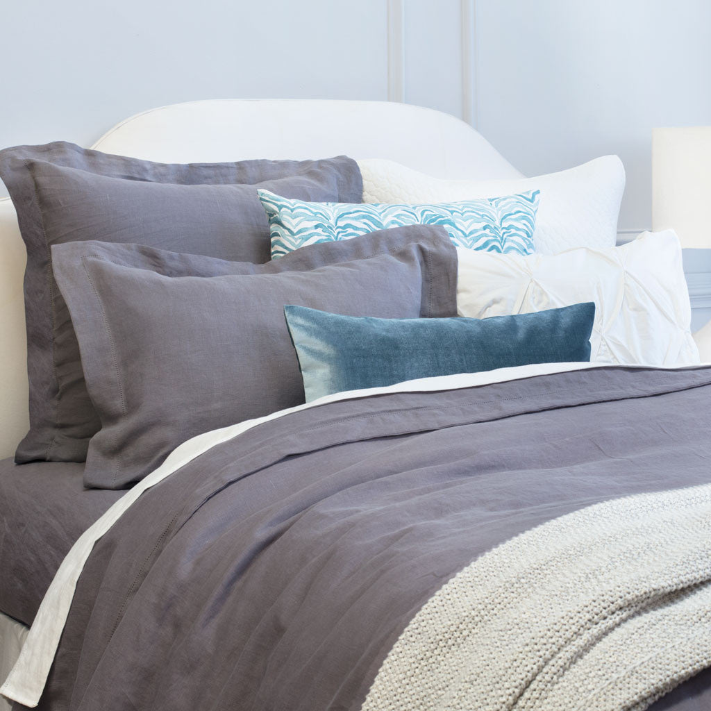 Bedroom inspiration and bedding decor | Lane Grey Belgian Linen Euro Sham Duvet Cover | Crane and Canopy