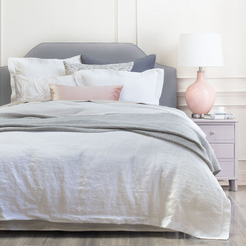 Bedroom inspiration and bedding decor | The Lane White Belgian Linen Duvet Cover | Crane and Canopy