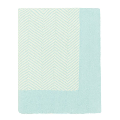 Light Blue Border Herringbone Throw