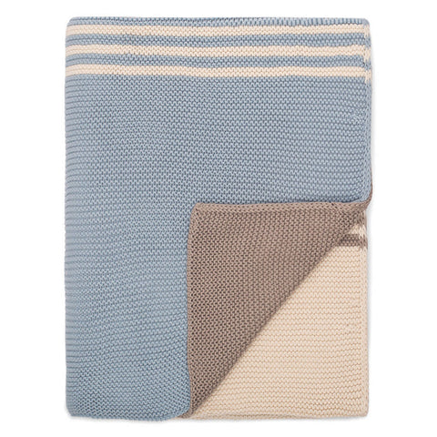 The Light Blue and Grey Striped Throw