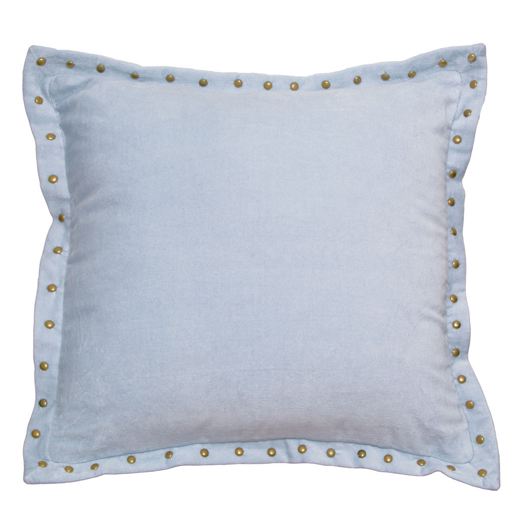 Bedroom inspiration and bedding decor | The Light Blue Studded Velvet Throw Pillows | Crane and Canopy