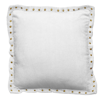 Bedroom inspiration and bedding decor | The Light Gray Studded Velvet Throw Pillows | Crane and Canopy