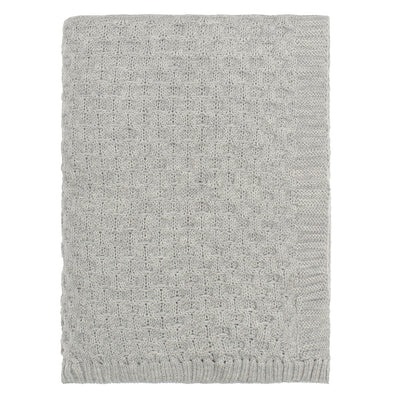 The Light Grey Textured Honeycomb Merino Wool Throw
